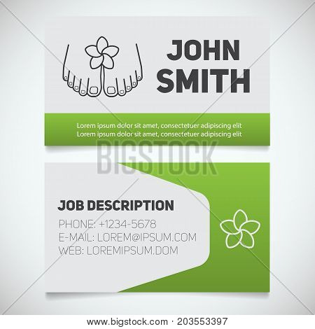 Business card print template with woman's feet logo. Spa salon cosmetologist. Stationery design concept. Vector illustration