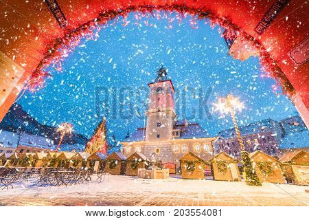 Christmas market and decorations tree in center of Brasov town Transylvania Romania