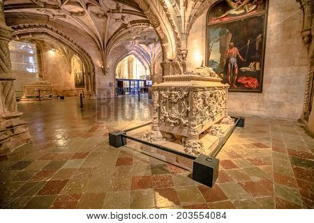 Lisbon, Portugal - August 26, 2017: Famous Tomb of Vasco da Gama in Jeronimos Monastery Church, Belem district. Vasco da Gama was a Portuguese explorer who traveled in India dubbing Cape of Good Hope.