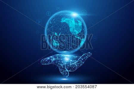 Wireframe A Globe Map with social icons on hand sign mesh from a starry on blue background