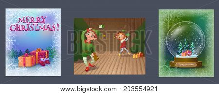 Christmas greeting cards collection with elves playing and packing gifts, snowglobe and presents in the woods, cartoon characters set, winter holidays background, vector illustration