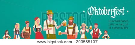Group Of Man And Woman Wearing German Traditional Clothes Waiters Holding Beer Mugs Oktoberfest Party Concept Flat Vector Illustration