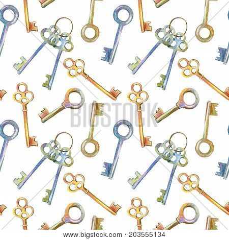 Seamless pattern of a keys.Watercolor hand drawn illustration.White background.