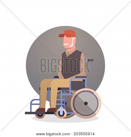 Senior Man On Wheel Chair Grandfather Gray Hair Male Icon Flat Vector Illustration