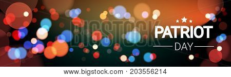 National USA Patriot Day United States Holiday Fireworks Banner Flat Vector Illustration