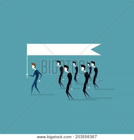Group Of Business People Follow Leader Holding Flag Leadership Idea Concept Flat Vector Illustration