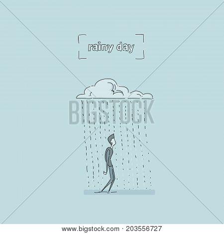 Business Man Standing Under Rain Cloud Rainy Day Problem Concept Vector Illustration