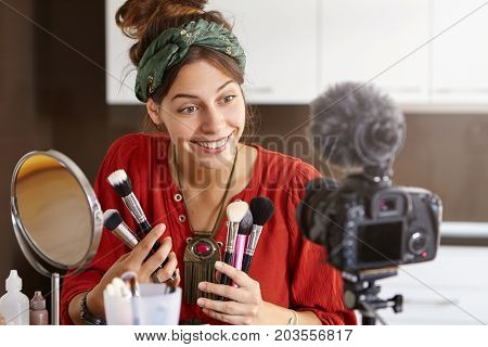 Cosmetology And Online Video Translation Concept. Female Cosmetologist Blogging Before Breakfast, Ha