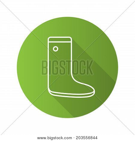 Watertight flat linear long shadow icon. Gumboot. Vector outline symbol