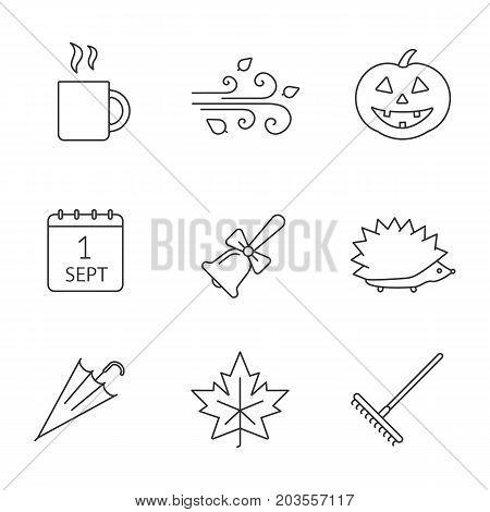 Autumn season linear icons set. Hot drink mug, pumpkin, wind blowing, school bell, hedgehog, umbrella, maple leaf. Thin line contour symbols. Isolated vector outline illustrations