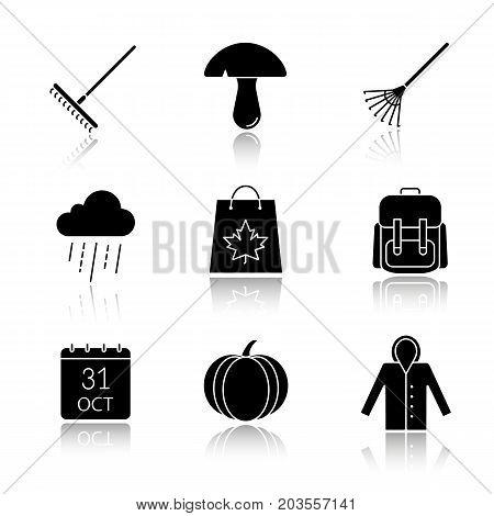 Autumn season drop shadow black glyph icons set. Rake, mushroom, rainy cloud, backpack, October 31 calendar, pumpkin, raincoat, autumn shopping. Isolated vector illustrations
