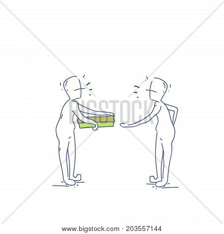 Courier Man Give Pizza Box To Receiver Food Delivery Service Doodle Vector Illustration