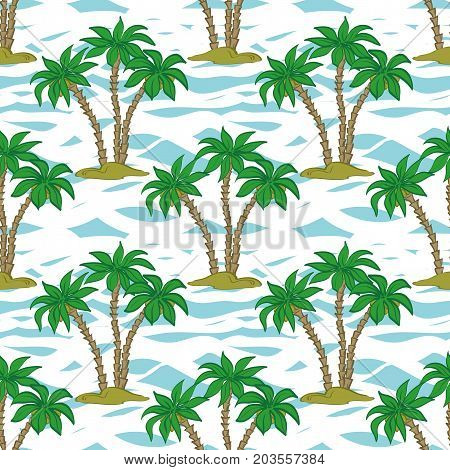 Seamless Pattern, Exotic Landscape, Tropical Palm Trees and Tile Blue and White Background. Vector