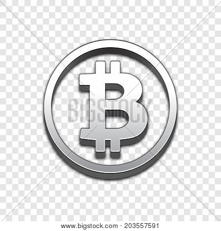 Bitcoin isolated web vector icon. Bitcoin trendy 3d style vector icon. Raised symbol illustration. Eps 10. Bitcoin symbol vector icon for your web site design, internet, graphic interface, business.