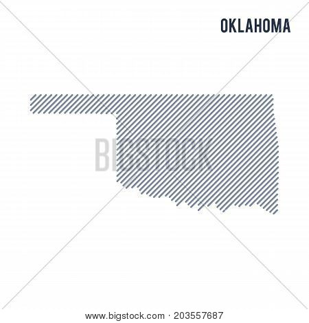Vector Abstract Hatched Map Of State Of Oklahoma With Oblique Lines Isolated On A White Background.