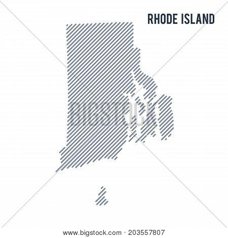 Vector Abstract Hatched Map Of State Of Rhode Island With Oblique Lines Isolated On A White Backgrou