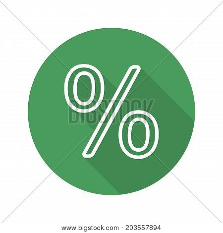 Percent sign. Flat linear long shadow icon. Percentage. Shop discount symbol. Vector line symbol