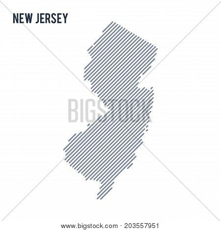 Vector Abstract Hatched Map Of State Of New Jersey With Oblique Lines Isolated On A White Background