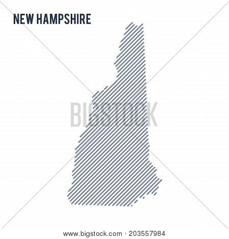 Vector Abstract Hatched Map Of State Of New Hampshire With Oblique Lines Isolated On A White Backgro
