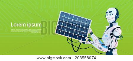 Modern Robot Charging From Solar Panel Battery, Futuristic Artificial Intelligence Mechanism Technology Flat Vector Illustration