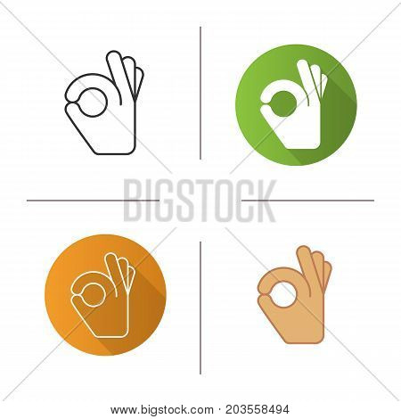 OK hand gesture icon. Flat design, linear and color styles. Isolated vector illustrations