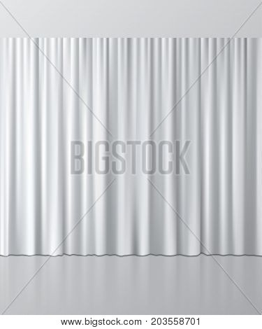 White curtain background. Vector realistic interior element.
