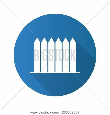 Wooden fence flat design long shadow glyph icon. Picket. Vector silhouette illustration