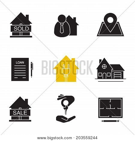 Real estate market glyph icons set. Silhouette symbols. Sold house, broker, loan agreement, cottage, floor plan, house for sale, building location pinpoint. Vector isolated illustration