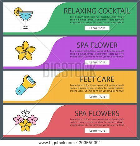 Spa salon web banner templates set. Margarita cocktail, plumeria flowers, foot file. Website color menu items. Vector headers design concepts