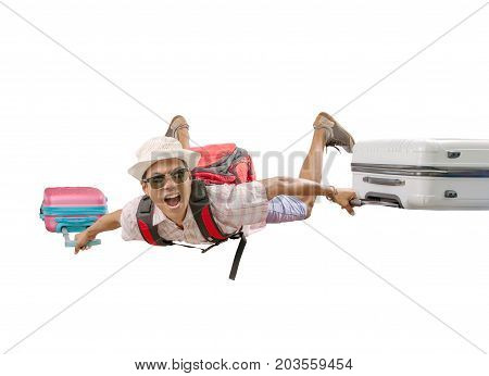 asian traveling man flying with luggage bag crazy face isolated white background