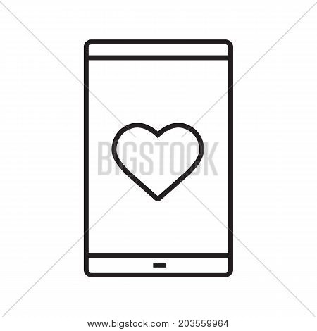 Smartphone dating app linear icon. Thin line illustration. Smart phone with heart shape contour symbol. Vector isolated outline drawing