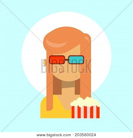 Female Wearing 3d Glasses With Popcorn Emotion Profile Icon, Woman Cartoon Portrait Happy Smiling Face Vector Illustration