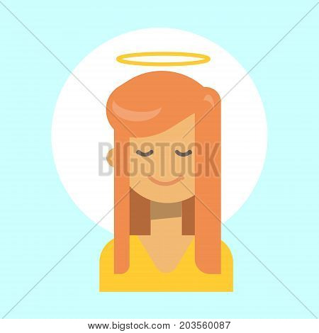 Female With Angel Nimbus Emotion Profile Icon, Woman Cartoon Portrait Happy Smiling Face Vector Illustration