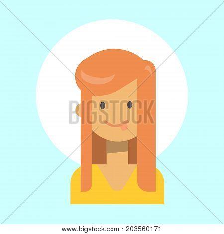 Female Showing Tongue Emotion Profile Icon, Woman Cartoon Portrait Happy Smiling Face Vector Illustration