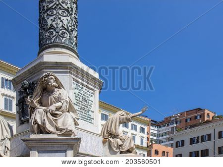 The Column of the Immaculate Conception stands in Piazza Mignanelli in front of the Spanish Embassy in Rome and steps away from Piazza di Spagna.