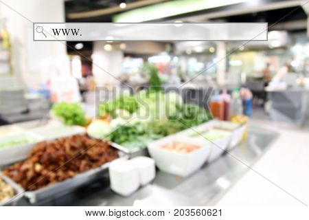 Blurry Food Court At Supermarket/mall For Background  With Address Bar, Online Shopping Background,