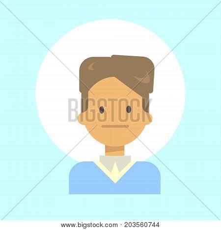 Female Neutral Emotion Profile Icon, Woman Cartoon Portrait Face Vector Illustration