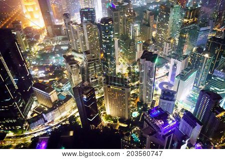 Kuala Lumpur, Malaysia - 4 May 2017: Cityscape shot from the KL tower . Famous landmarks including the petronas twin towers are visible. The beautiful sights of the city make this a popular tourist destination
