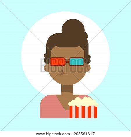 African American Female Wearing 3d Glasses With Popcorn Emotion Profile Icon, Woman Cartoon Portrait Happy Smiling Face Vector Illustration