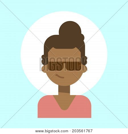 African American Female Wearing Sun Glasses Emotion Profile Icon, Woman Cartoon Portrait Happy Smiling Face Vector Illustration