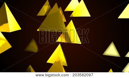 Abstract background with golden pyramids. Digital backdrop. 3d rendering