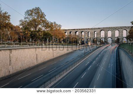 Roman Valentine aqueduct crossing one off central street of Istanbul, Ataturk avenue