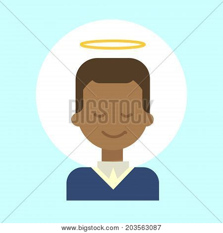 African American Male With Angel Nimbus Emotion Profile Icon, Man Cartoon Portrait Happy Smiling Face Vector Illustration