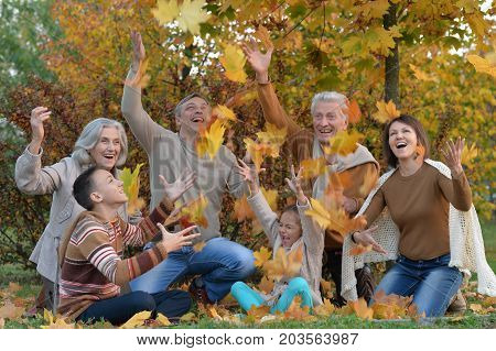 Happy smiling family relaxing in autumn park throwing up leaves