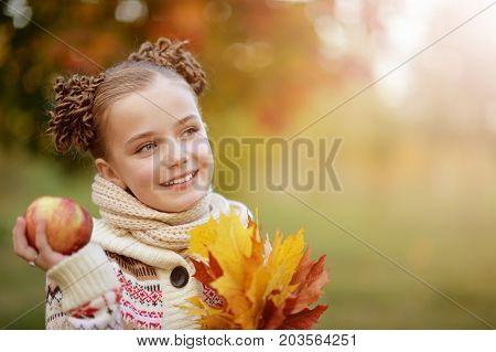 portrait of pretty little girl in autumnal park