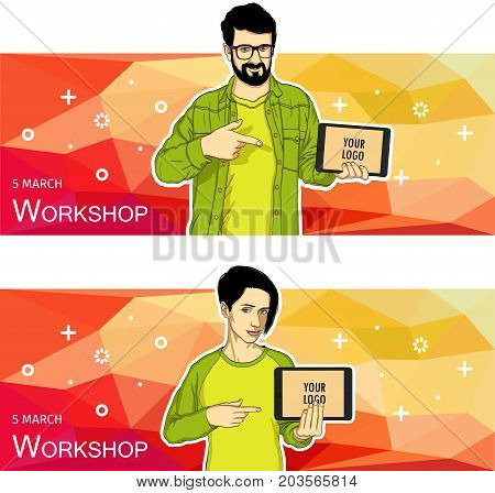 Mobile tablet template for banner. Vector template of mobile tablet screen in hand.