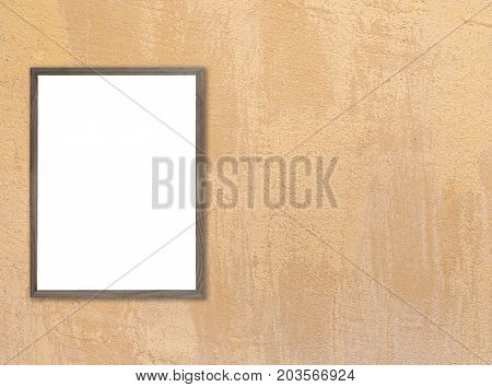 Old wooden photo frame on blue wooden wall. texture for add text.