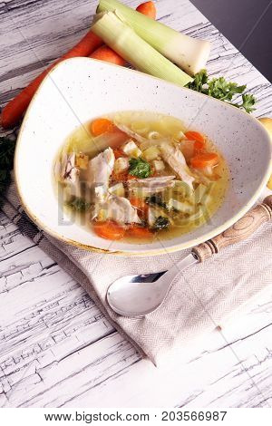 Bone Broth Made From Chicken With Carrots, Onions Various Fresh