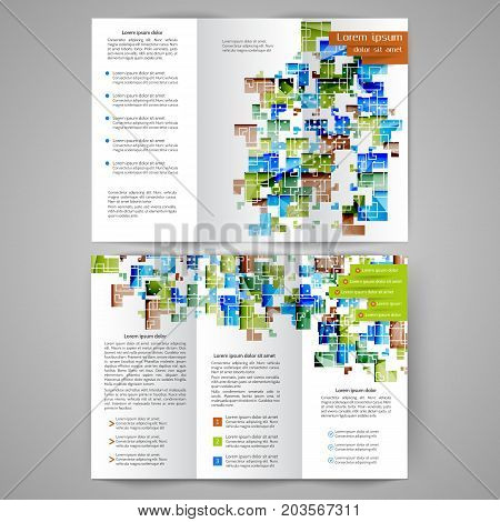 Color tri fold business brochure with geometric elements