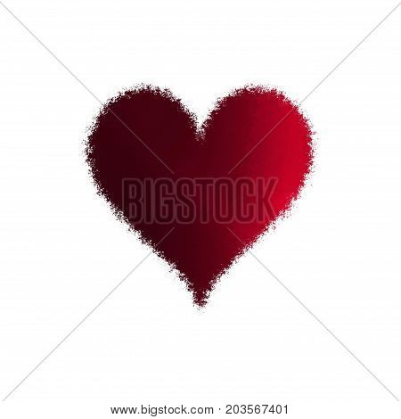 Defocused blur spray red heart isolated on white background